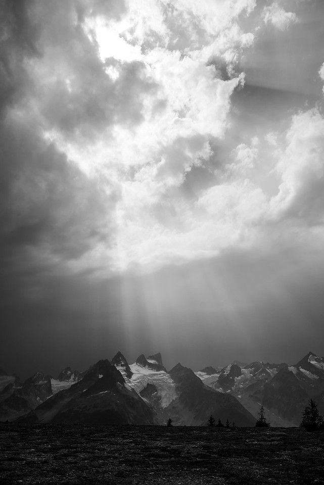 Sun Rays over the Vowell peaks