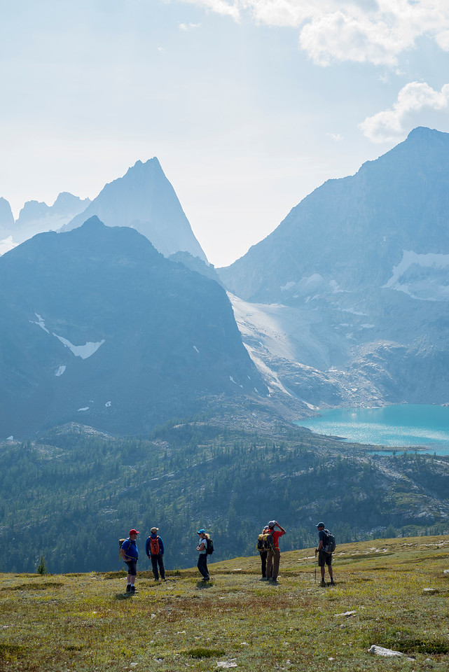 Hikers checking out Cobalt Lake