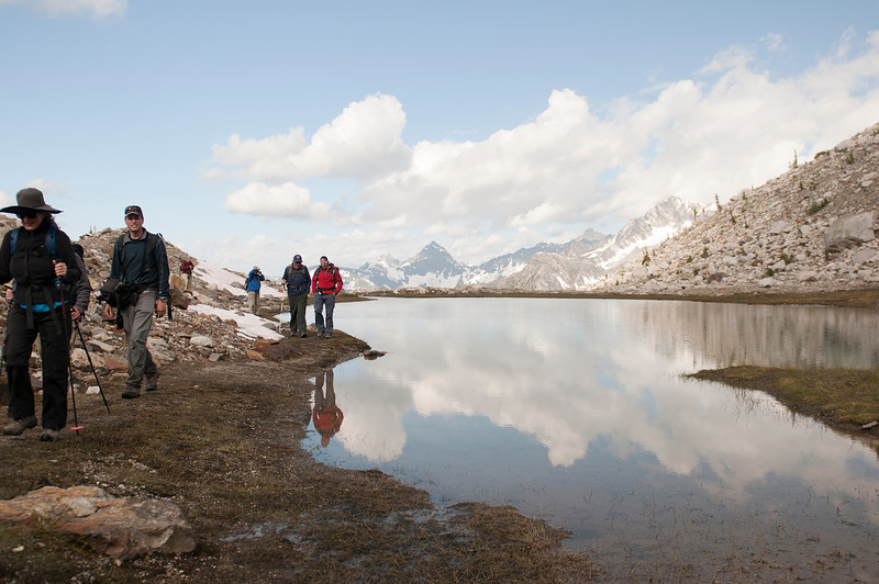 Hikers at Kickoff Tarn