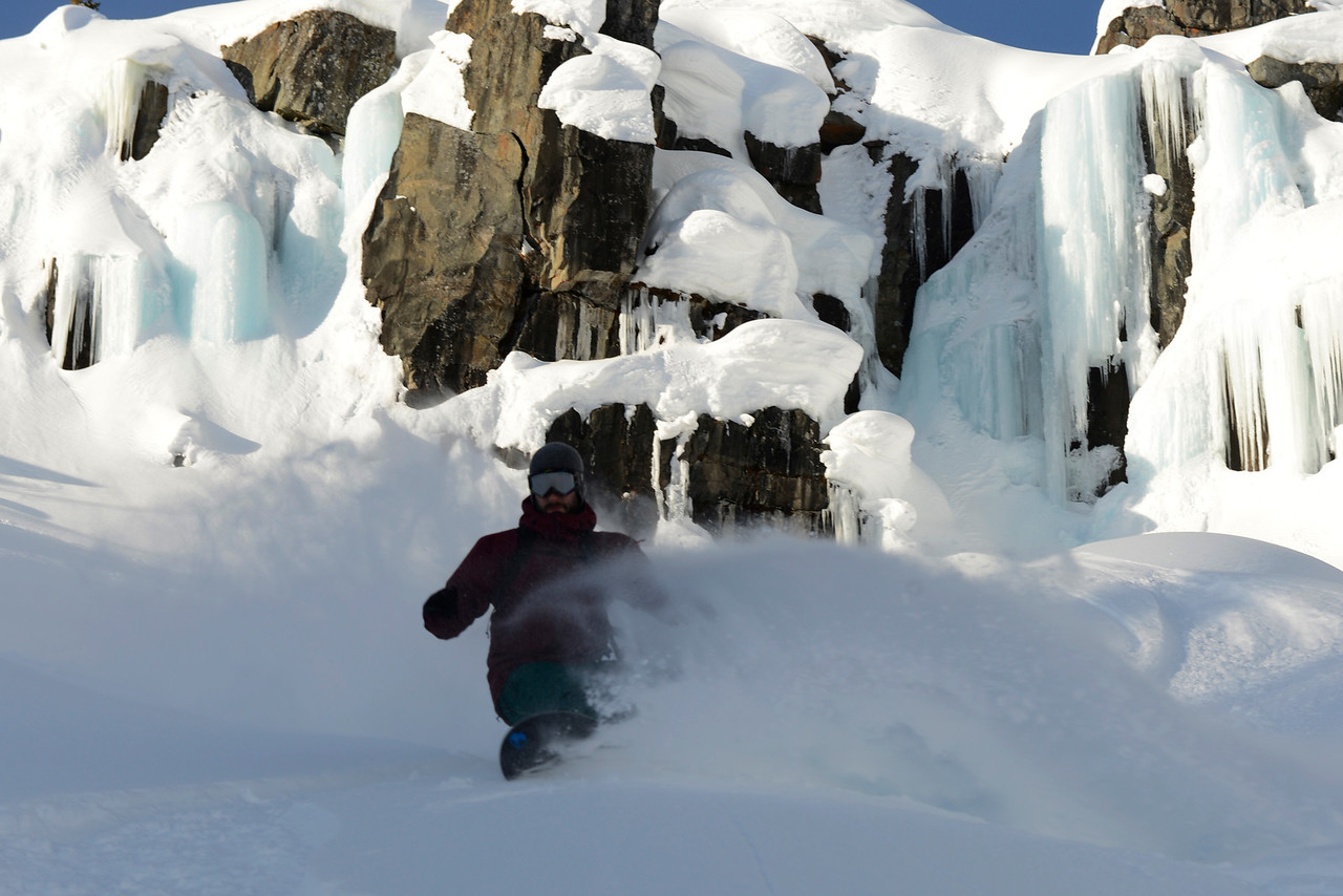 McIvor under the waterfall on Skidmark