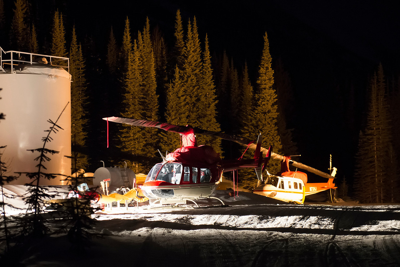 Nighttime at the heli pad