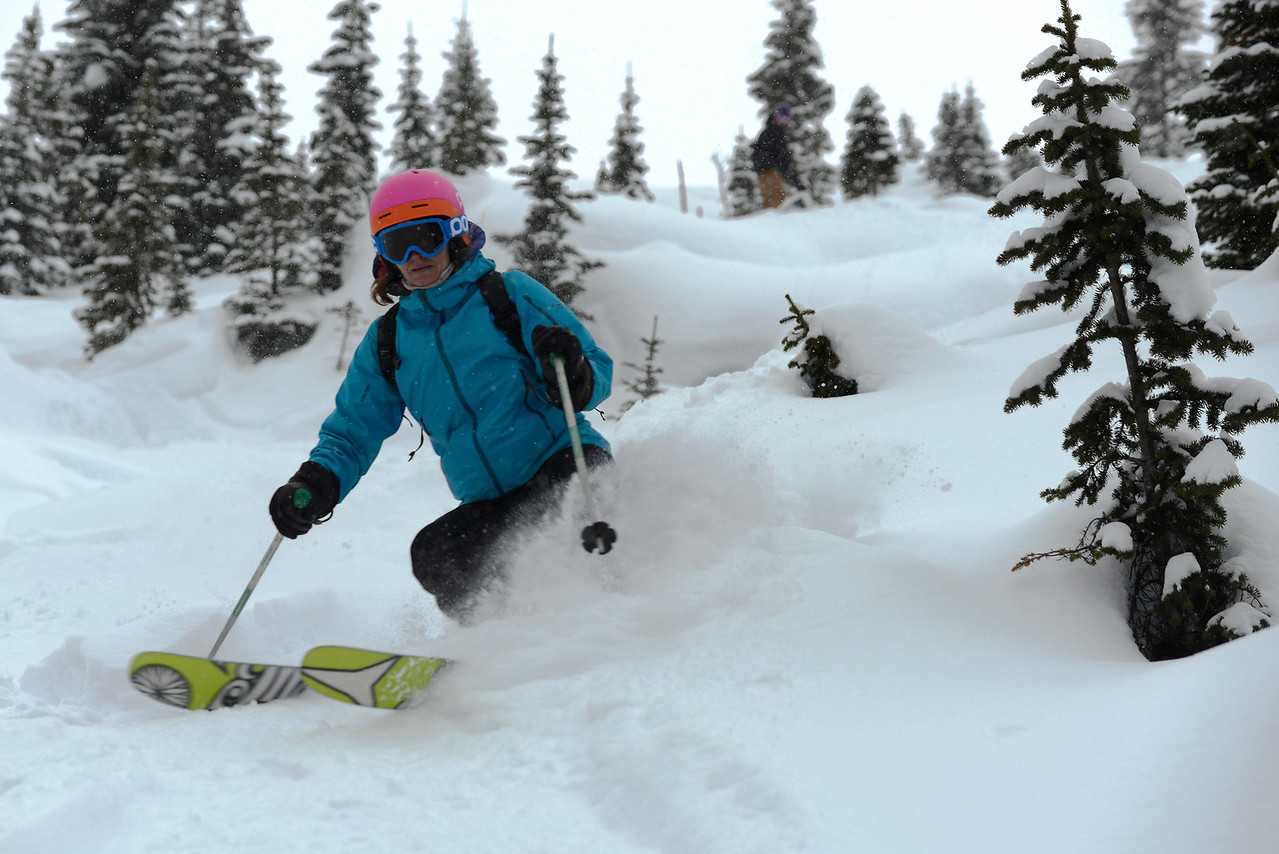 Kristen skiing the Swiss Guide Crusher