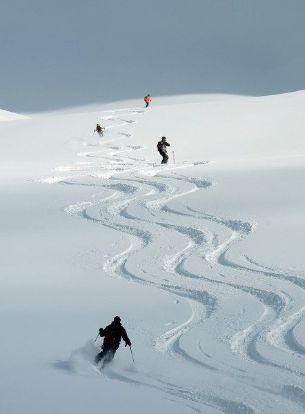 Skiing into Kain Creek