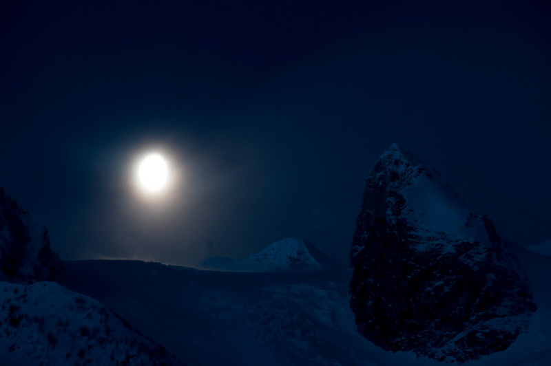 Setting Moon over Bugaboo Glacier