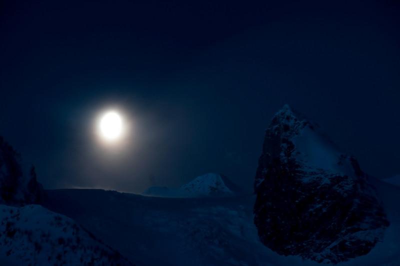 Setting Moon over Bugaboo Glacier
