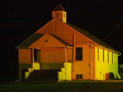 Covenant Mountain Mission Bible Camp Chapel by firelight.