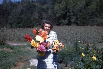 1947 Winnie with dahlias