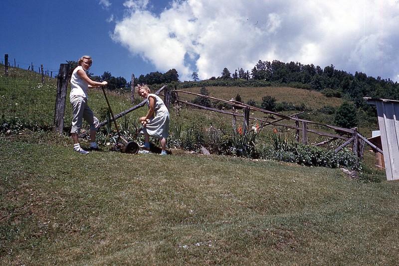 1957 Fran - Naomi at work in lawn