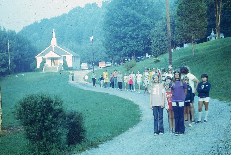 1972 Campers coming to breakfast after flag raising and devotions