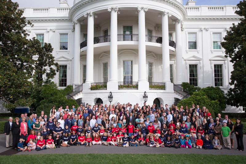 President Barack Obama meets with and takes photo with the Children's Miracle Network Champions on the South Drive of the White House, Oct. 16, 2013. (Official White House Photo by Pete Souza)<br /> <br /> This photograph is provided by THE WHITE HOUSE as a courtesy and may be printed by the subject(s) in the photograph for personal use only. The photograph may not be manipulated in any way and may not otherwise be reproduced, disseminated or broadcast, without the written permission of the White House Photo Office. This photograph may not be used in any commercial or political materials, advertisements, emails, products, promotions that in any way suggests approval or endorsement of the President, the First Family, or the White House.
