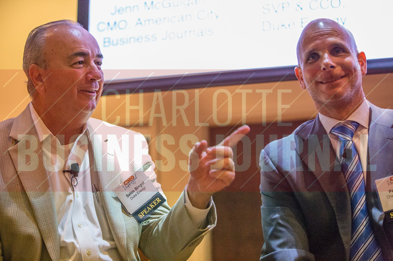 Selim Bingol, SVP & CCO at Duke Energy (left), panelist at Charlotte Business Journals CMO Unplugged event at 8.2.0 Bar, AvidXchange Music Factory.