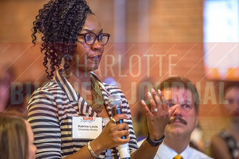 Attendees of Charlotte Business Journals CMO Unplugged event at 8.2.0 Bar, AvidXchange Music Factory ask panelists questions at the end of the panel discussion portion of the event.
