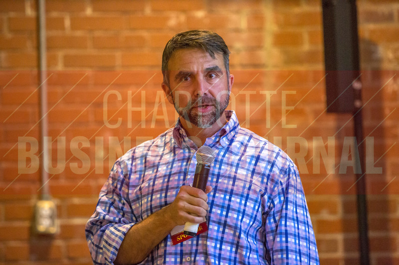speaks at Charlotte Business Journals CMO Unplugged event at 8.2.0 Bar, AvidXchange Music Factory.