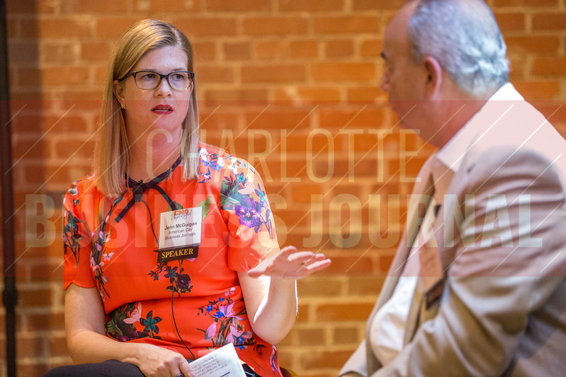 Jenn McGuigan, CMO at American City Business Journals, moderates the Charlotte Business Journals CMO Unplugged event at 8.2.0 Bar, AvidXchange Music Factory.