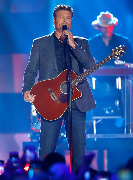 ". Blake Shelton performs ""Every Time I Hear that Song\"" at the CMT Music Awards at Music City Center on Wednesday, June 7, 2017, in Nashville, Tenn. (Photo by Wade Payne/Invision/AP)"