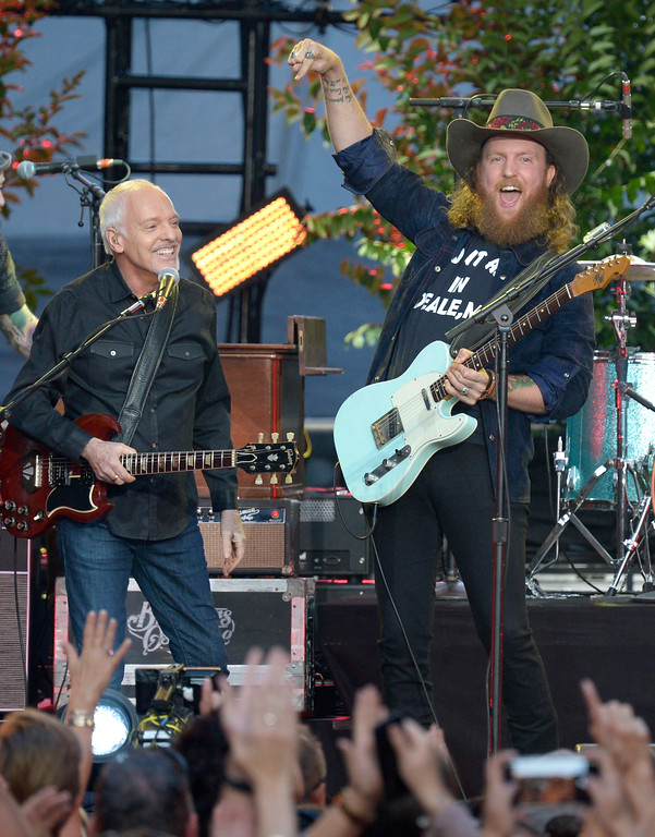 ". Peter Frampton, left, and John Osborne perform ""It Ain\'t My Fault\"" at the CMT Music Awards at Music City Center on Wednesday, June 7, 2017, in Nashville, Tenn. (Photo by Amy Harris/Invision/AP)"