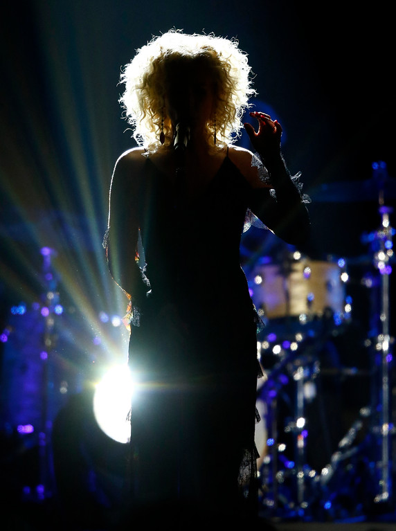 """. Kimberly Schlapman, of Little Big Town, performs \""""When Someone Stops Loving You\"""" at the CMT Music Awards at Music City Center on Wednesday, June 7, 2017, in Nashville, Tenn. (Photo by Wade Payne/Invision/AP)"""
