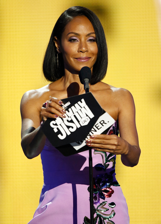 . Jada Pinkett Smith presents the award for female video of the year at the CMT Music Awards at Music City Center on Wednesday, June 7, 2017, in Nashville, Tenn. (Photo by Wade Payne/Invision/AP)