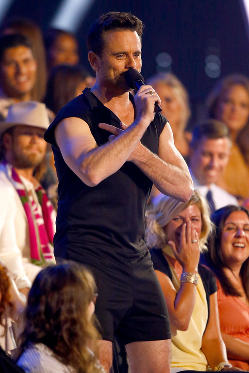 . Host Charles Esten speaks in the audience wearing a romper at the CMT Music Awards at Music City Center on Wednesday, June 7, 2017, in Nashville, Tenn. (Photo by Wade Payne/Invision/AP)