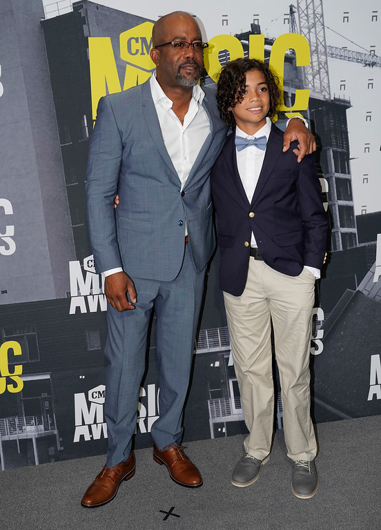 . Darius Rucker, left, and his son Jack Rucker arrive at the CMT Music Awards at Music City Center on Wednesday, June 7, 2017, in Nashville, Tenn. (Photo by Sanford Myers/Invision/AP)