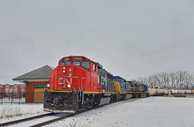 Canadian National #323, St-Jean-sur-Richelieu, Quebec, January 24 2017.