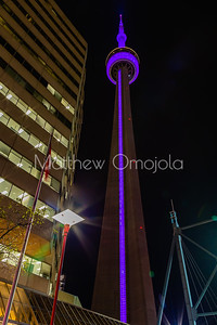 CN Tower Toronto Canada at night with purple lighting