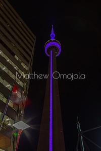 CN Tower Toronto Canada at night with purple lighting