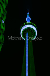 Top of CN Tower Toronto Canada at night with blue lighting