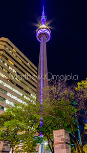 CN Tower Toronto Canada at night with fall foliage change.