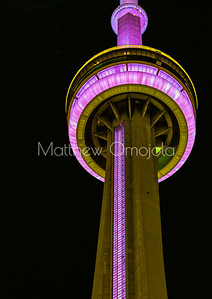 CN Tower Toronto Canada at night with pink lighting