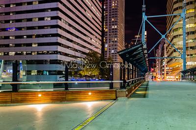 Walkway around CN tower at night