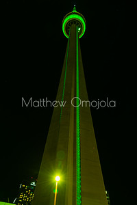CN Tower Toronto Canada at night with green lighting