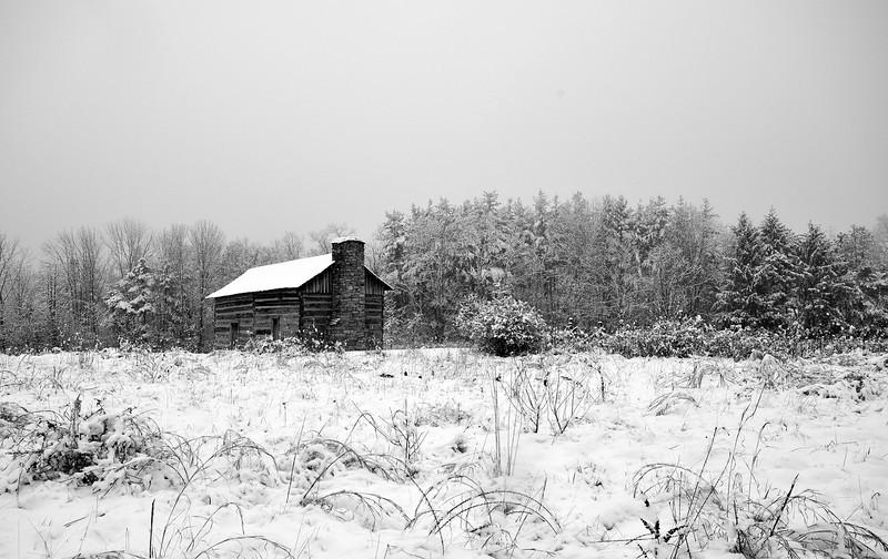 B&W Abner Hollow Cabin In Winter