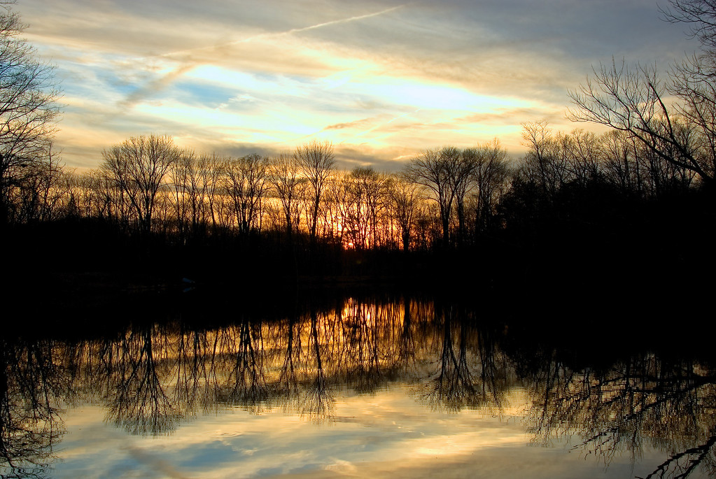 Winter Sunset Powel Crosley Lake - Cincinnati Nature Center at Rowe Woods