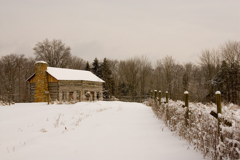 Winter Snow Abner Hollow Cabin Cincinnati Nature Center at Rowe Woods