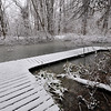 Wooden Walkway Winter First Snow