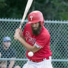Clinton 76ers played the Lunenburg Phillies on Thursdsay, August 8, 2019 at McLaughlin Park Field in Leominster. Phillies Ales Heroux is hit with a pitch in the arm which earned him a walk to first. SENTINEL & ENTERPRISE/JOHN LOVE