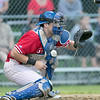 Clinton 76ers played the Lunenburg Phillies on Thursdsay, August 8, 2019 at McLaughlin Park Field in Leominster. Phillies catcher Connor Wironen waits for the ball. SENTINEL & ENTERPRISE/JOHN LOVE