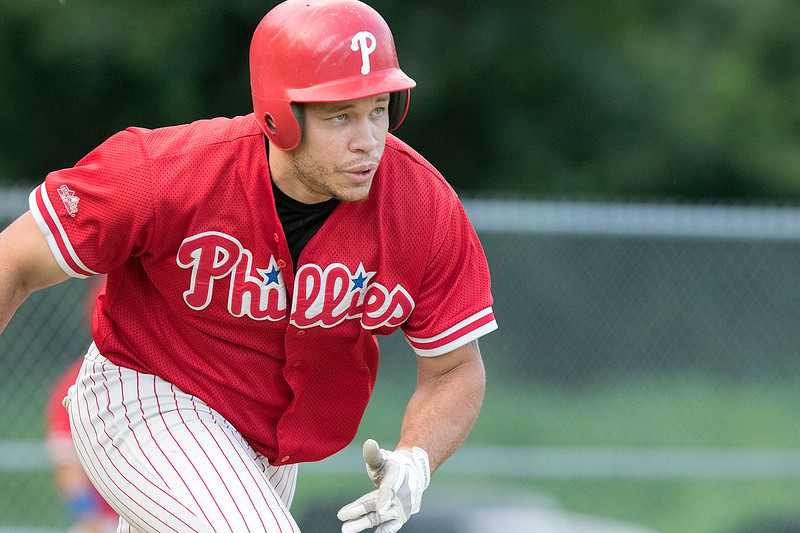 Clinton 76ers played the Lunenburg Phillies on Thursdsay, August 8, 2019 at McLaughlin Park Field in Leominster. Phillies Jonathan Belliard takes of to first after his hit. SENTINEL & ENTERPRISE/JOHN LOVE