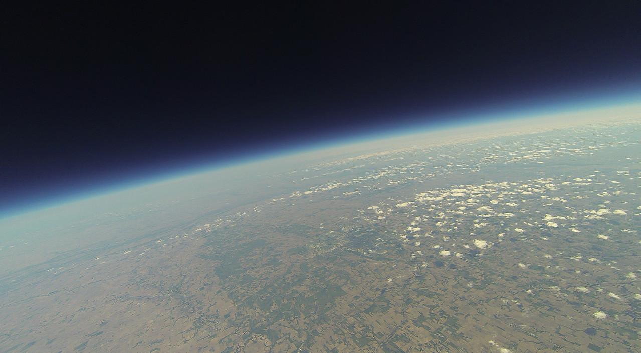 Looking northeast, Lincoln, NE just below center.