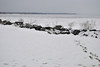 Rock wall at boat launch, Oneida Shores Park