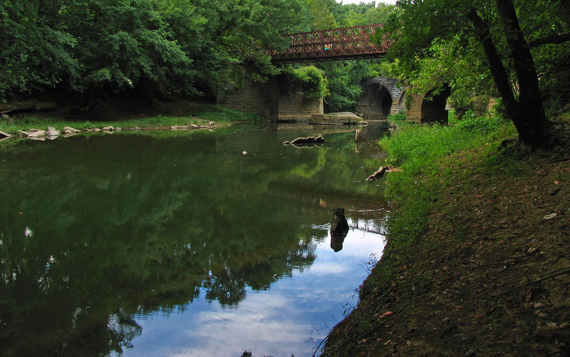23 3  Remains of Catoctin Creek Aqueduct with B&O Railroad viaduct just upstream