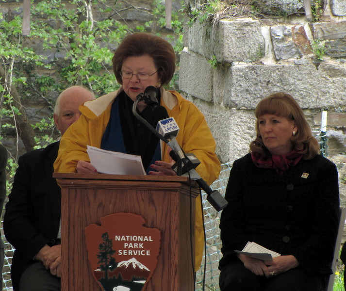 "United States Senator Barbara Mikulski remarked,  ""They can talk about other national parks,but the parks in Maryland represent how America was won and built."" She said that since the original groundbreaking for the canal by President John Quincy Adams in 1828, there was not such a group of distinguished guests on the canal parkway. ""Abigail (the president's wife) was not there because women didn't attend such things, we couldn't vote, we weren't in the Constitution. But look at the progress we have made,"" Mikulski said."