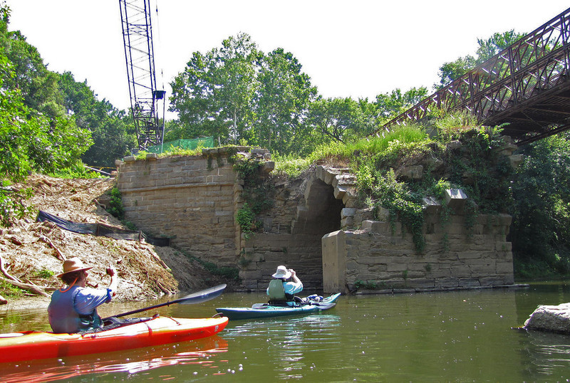 C&O Canal Association paddlers photograph the still intact Catoctin Aqueduct eastern arch.