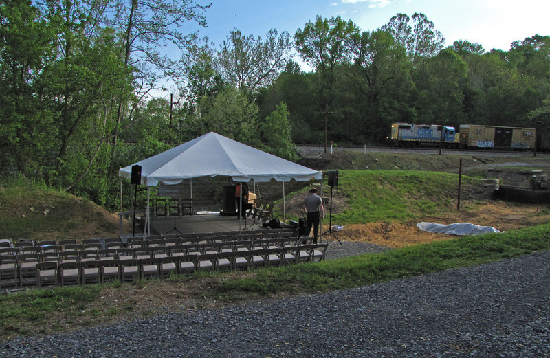 4/24/2010   Setting up for the April 24, 2010 Groundbreaking Ceremony for Restoration of the Catoctin Creek Aqueduct.