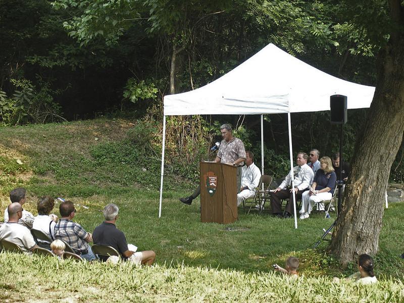 President , Dr. George Lewis, Catoctin Aqueduct Restoration Fund, spoke at the interpretive wayside dedication ceremony on August 13, 2005.