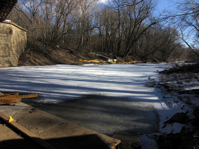 Iced over Catoctin Creek downstream of the aqueduct on January 9, 2011.