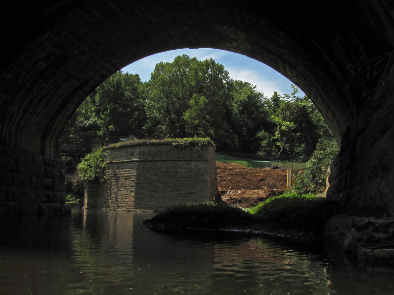 Catoctin Aqueduct western upstream wingwall as seen from directly underneath the B&O Railroad Viaduct on July 17, 2010.