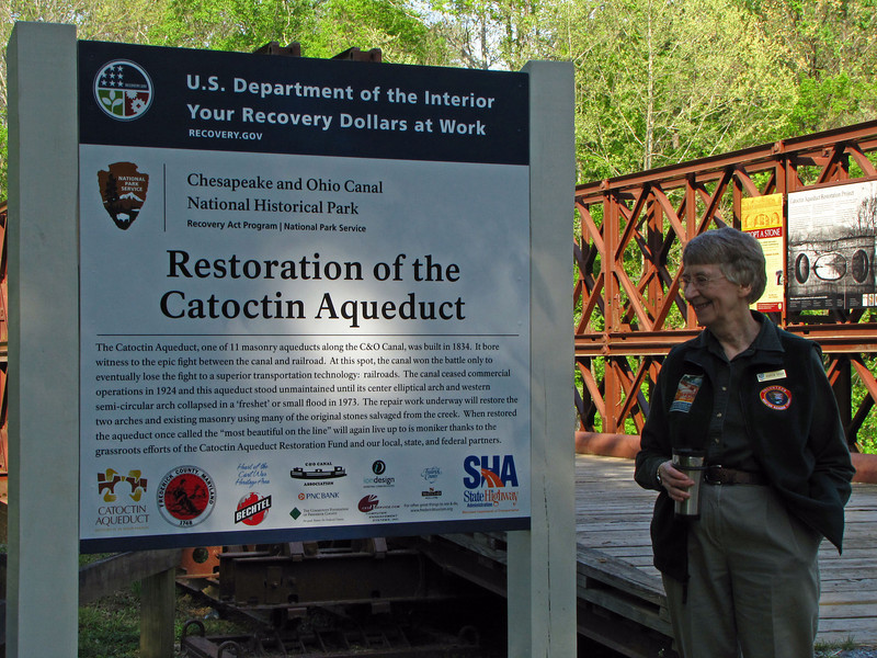 Dr. Karen M. Gray, C&O Canal long-standing historian and leading lecturer arrives for the Catoctin Aqueduct groundbreaking ceremony.