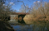 2/15/2009   View of the Catoctin Creek Aqueduct ruins, B&O Railroad Viaduct, and the Bailey Bridge from downstream on the western side of Catoctin Creek on February 15, 2009.